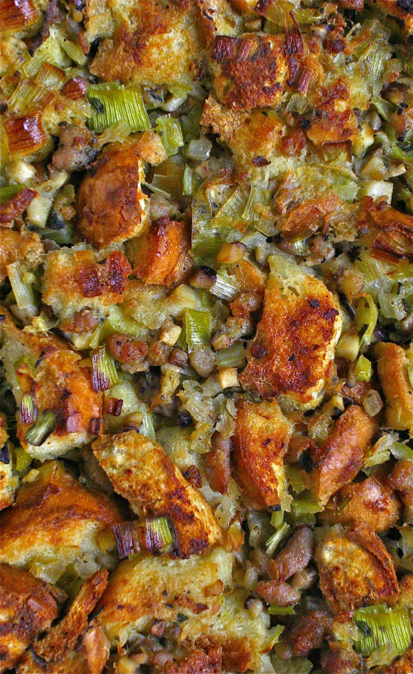 Leeks and Sausage stuffing_close