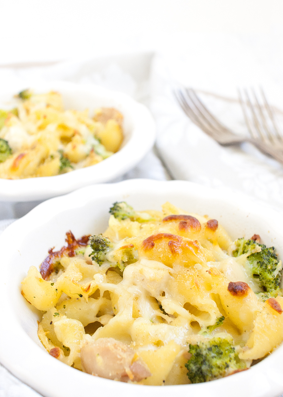 Cheesy Chicken Broccoli Baked Shells