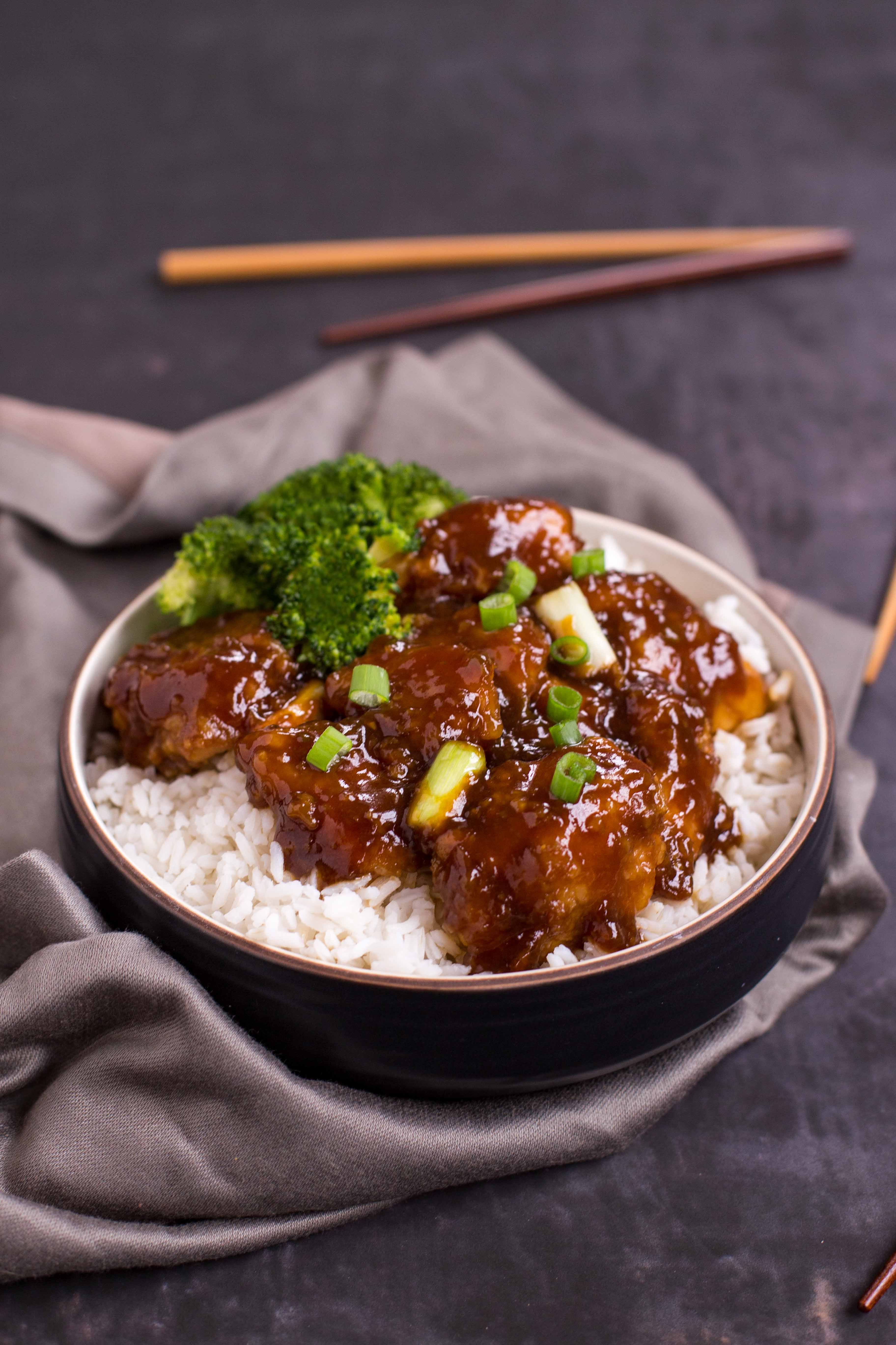 Baked General Tso's Chicken Close