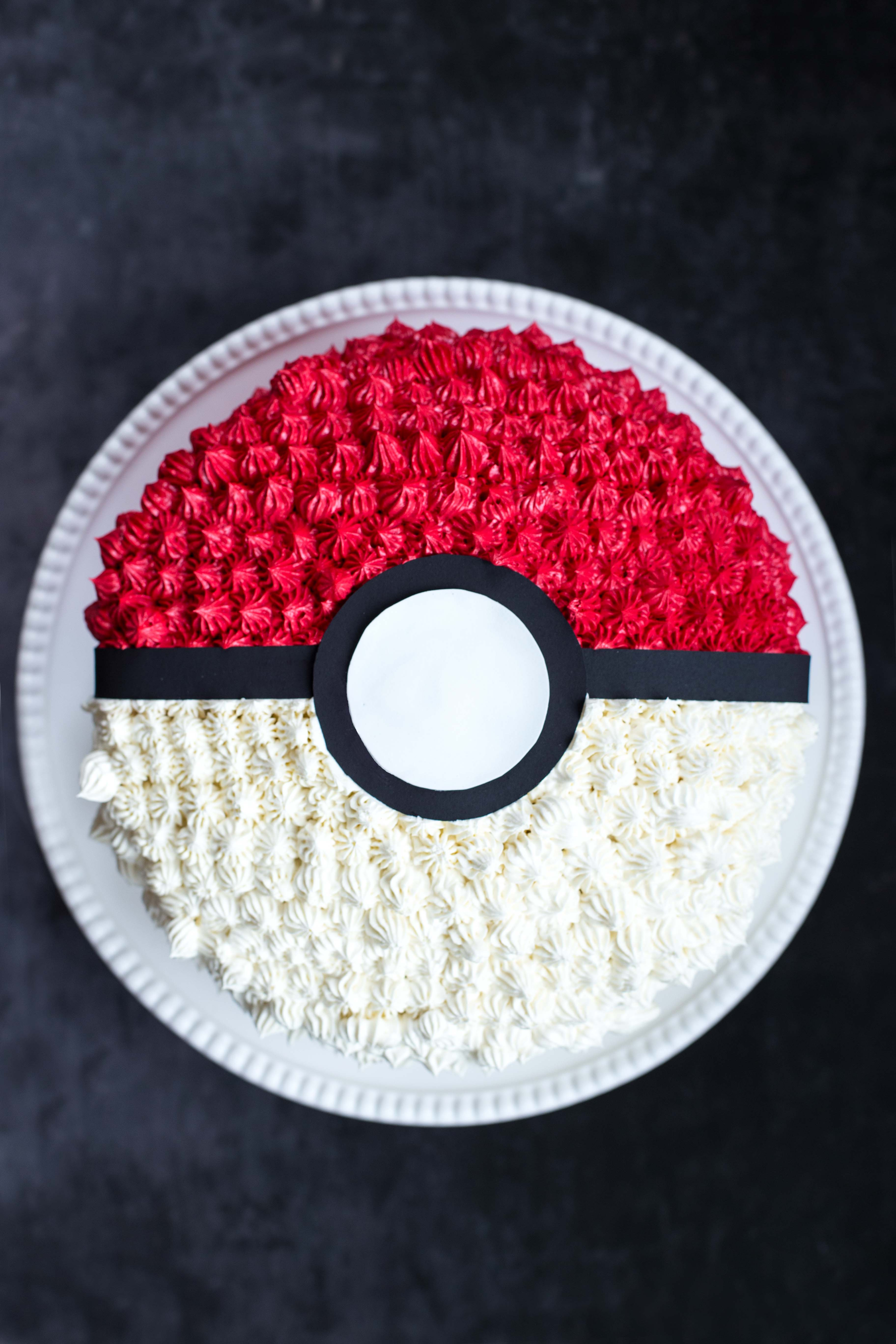 Poke Ball Cake Above